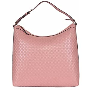 Fashion Shopping Gucci Women's Micro GG Guccissima Leather Hobo Handbag (449732/Soft Pink)