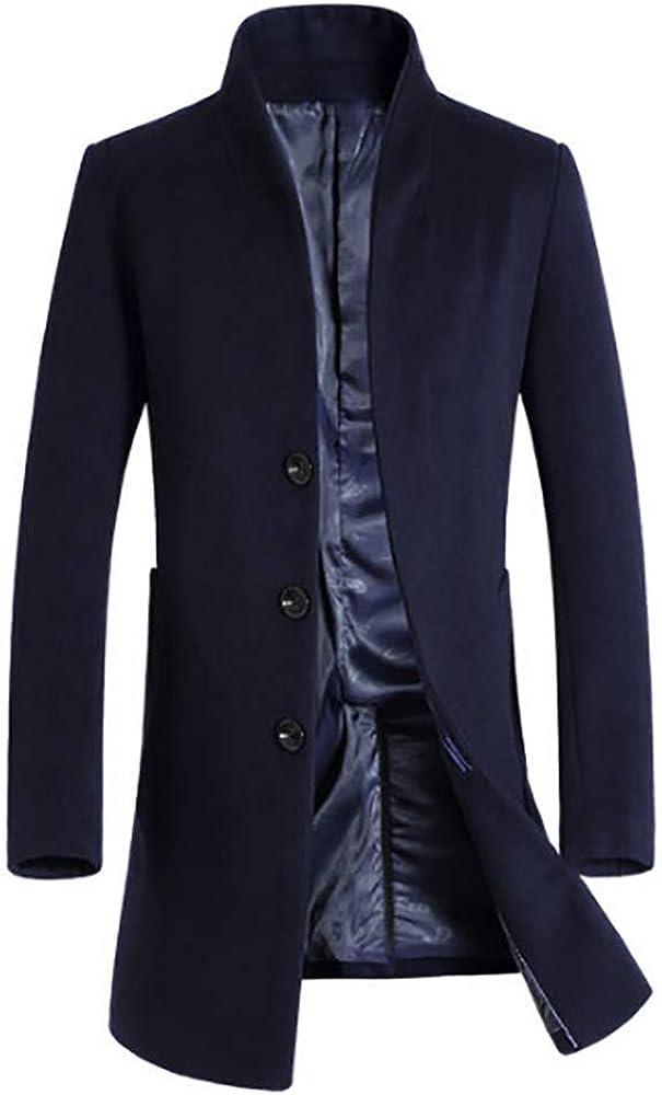 F_Gotal Mens blazer Men's Slim Fit Winter Warm Notched Collar Long Blend Coat Business Jacket Overcoat Coats Pea Coat