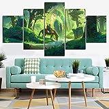 5 Stück Die Legende von Zelda Videospiel Poster Nintendo Spiel Abbildung Link Wandaufkleber Home Decor Wandkunst Bild Wandmalerei(Frame size)