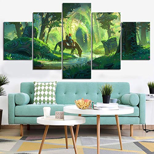 5 Stück Die Legende von Zelda Videospiel Poster Nintendo Spiel Abbildung Link Wandaufkleber Home Decor Wandkunst Bild Wandmalerei(Frameless size2)