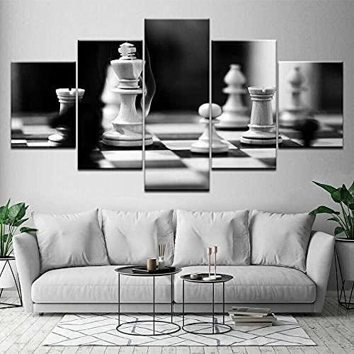 5 Paneli Sztuka Ścienna Obraz Idź Do Gry W Szachownicę Czarne Białe Znaki Wydruki Na Płótnie Obrazy Olejne Do Domu Nowoczesna Dekoracja Wydruk Dekoracja Płótnie Sztuka Ścienna Obrazy 5 Paneli