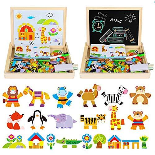 Queta Magnetisches Holzpuzzle mit Doppelseitiger Tafel, Doppelseitiges Puzzle- und Zeichen-Staffelei, Kreidetafel, Lernspielzeug für Kinder