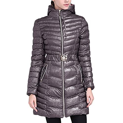 YAOTT Mujer Chaqueta de Plumas Engrosada Abrigo Acolchado Ligero Acolchado Chaqueta Acolchada Cortavientos largo y cálido con cinturón parka impermeable chaqueta delgada de invierno Gris oscuro L
