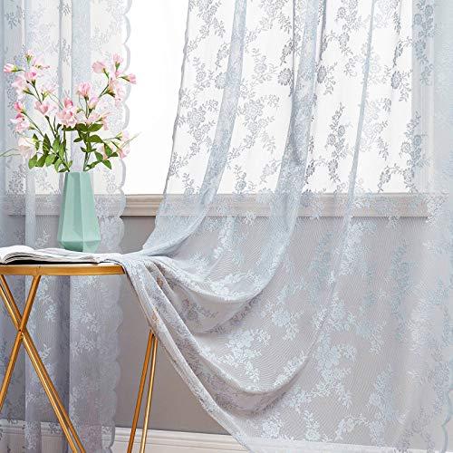 MIULEE 2 Hojas Cortinas Salon Lace Visillos Cortina de Encaje Floral Cortinas Translúcidas Florales de Habitacion Dormitorio Tul con 8 Anillas Rómanticas para Ventana Balcon Salón 150x260cm Gris