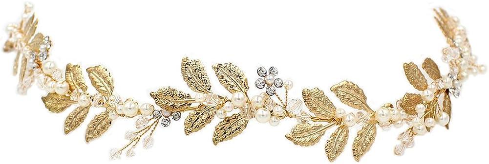 YAZILIND Fashion Leaves Shape Hair Headband Pearl Rhinestone Bridal Wedding Headdress