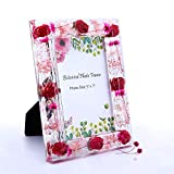 WalcoHome 5x7 Pink Floral Picture Frame for Wall Decor and Tabletop Display Great Memorial Gifts Picture Frames Unique Home Decoration with the Pink Dried Flower Acrylic Photo Frame