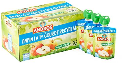 ANDROS - Compote de Fruit - Gourde Recyclable - Allégé - Goût Pomme - Idéal pour le Goûter des Enfants et des Bébés - Lot de 20