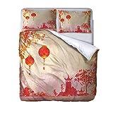 AOUAURO Bettwäsche 135x200 Pavillon Landschaft Bettbezug Set 3D Bedruckte 3-Teiliges Polyester mit Reißverschluss 1 Bettbezug und 2 Kissenbezug 80x80cm 3 Stück Einzelbett