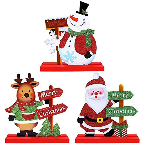 YuKeShop 3 PCS Christmas Table Decorations, Cute Santa Snowman Reindeer Table Ornament for Dinner Party Coffee Table