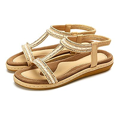 gracosy Women Summer Flat Sandals, Slippers Elastic Flip Flops Bohemian Thong Slip on Rhinestone Low Wedge Beach Sandal A-Beige 8.5 M US
