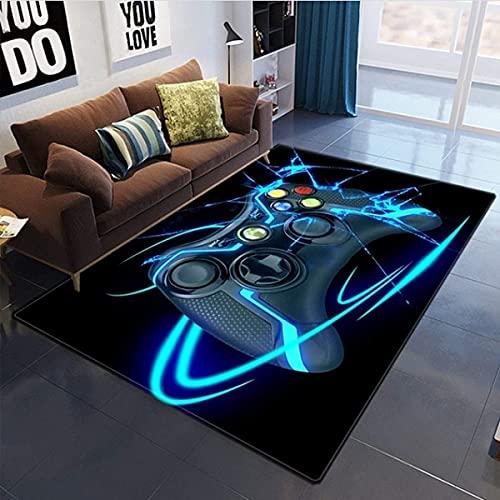 3D Anime Gamer Teppich Kinder Jungen Groß Kinderzimmer Gaming Teppich Schlafzimmer Dekoration Wohnzimmer Kurzflor Krabbelmatte Modern Weich Kinderteppiche Waschbarer Blau Schwarz (120x160 CM)