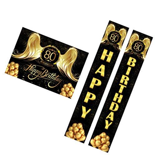 NUOBESTY Feliz Festa de Aniversário Decoração 80 80Th Ano Velho Alpendre Sinal Quintal Bandeira Porta Dísticos para 80 Anos Fontes Do Partido de Aniversário