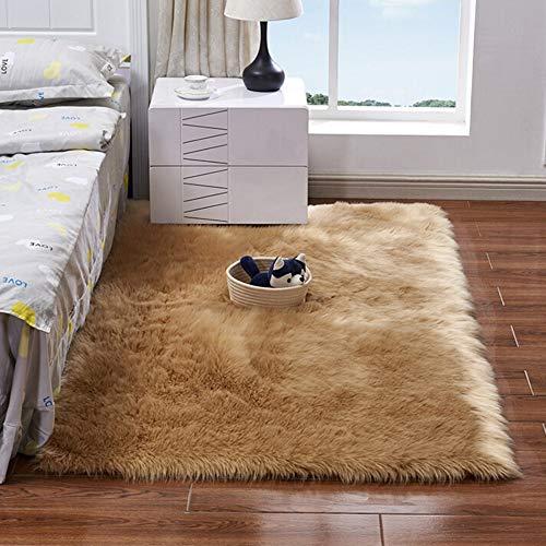 CNFQ Teppich, Nachbildung, Dach, Teppich, weich, künstliches Schaffell, kaki, 60x150cm