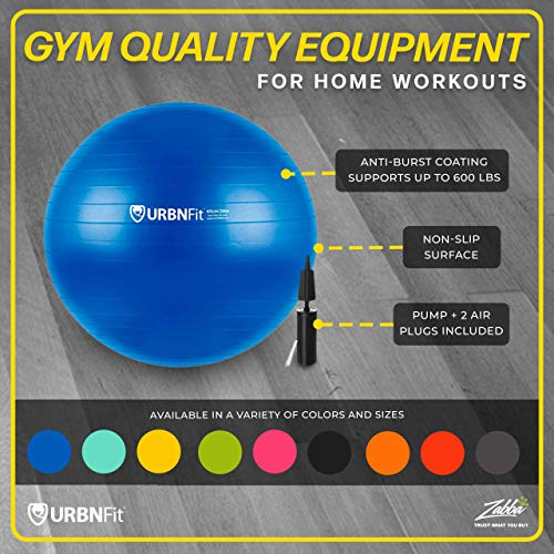 URBNFit Exercise Ball (Multiple Sizes) for Fitness, Stability, Balance & Yoga Ball – Workout Guide & Quick Pump Included – Anti Burst Professional Quality Design