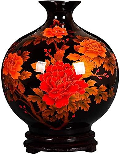 Vase Dekoration Studienvase Blumentopf Keramikvase Wohnzimmer Weinschrank Dekoration Schwarz Wohnkultur Blumentöpfe 30x25cm JXLBB