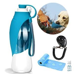 Distributeur de bouteille d'eau de chien de silicone extensible de bouteille de l'eau de voyage avec le chien libre Clicker et sacs de merde de déchets de chien