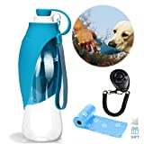 YAMI Haustier Reise Wasser Flaschen erweiterbarer Silikon Hundewasser Flaschen Zufuhr mit freiem Hundetraining Clicker- und Hundeabfall Poop Taschen