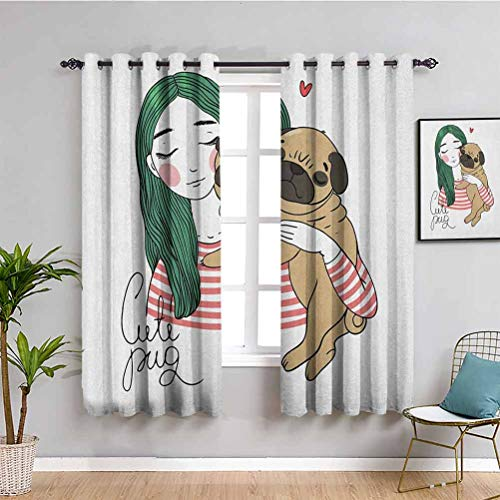 Pug Cute Curtain, Curtains 72 inch Length Cute Dog with Lovely Girl Loving Your Pets Bonding with The Animals Cafe Curtain Forest Green Pale Brown Pink W72 x L72 Inch