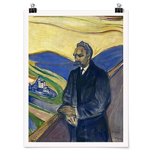 Bilderwelten Poster Wanddekoration Edvard Munch - Porträt Nietzsche Glänzend 40 x 30cm