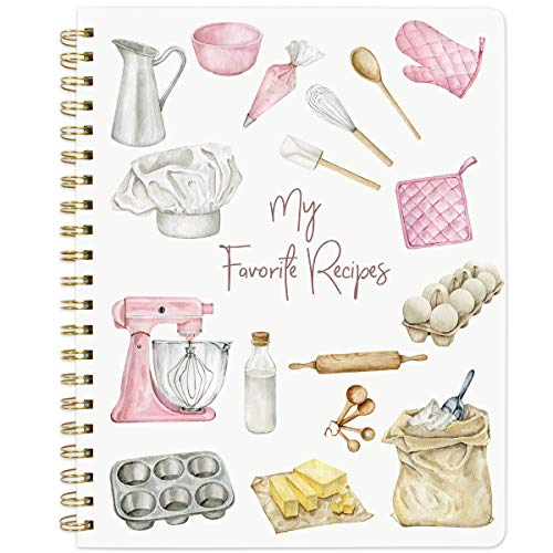 """Recipe Notebook Blank Cookbook Spiral Recipe Journal Blank Recipe 8.5"""" x 11"""" Watercolor Cover Blank Recipe to Write in with Tabs"""
