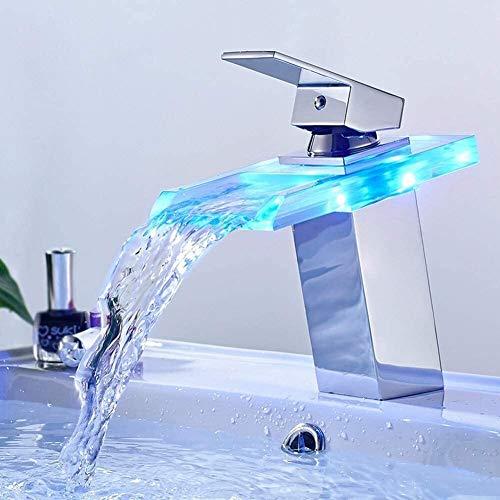 Grifo de Lavabo LED grifo de cristal de luz con sensor de temperatura de la cascada de la energía hidroeléctrica fregadero cuarto de baño del grifo del lavabo de mezclador del grifo de montaje de lató