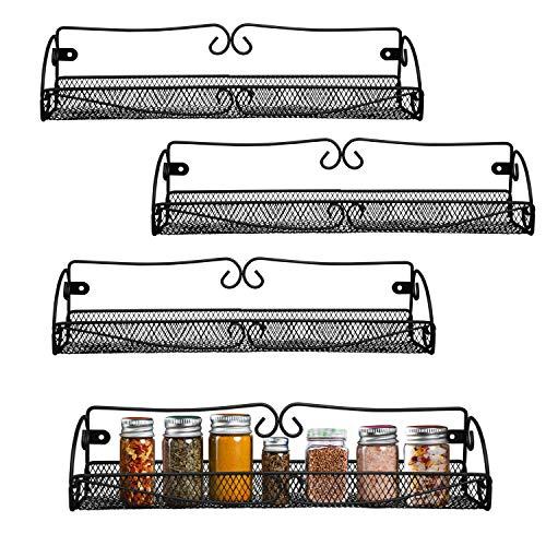 BELLE VOUS Gewürzregal - Spice Rack (4 Stück) L40cm, H8.5cm, W9cm -Wandregal für Küche, Hängeregal für Gläser, Flaschen - Hängendes Gewürz Regal- Gewürzaufbewahrung für Küche, Küchenschrank