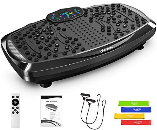 Atmonas Übergroße Vibrationsplatte mit Bluetooth-Lautsprecher, 5 Programmmodi, 199 Stufen, 2 Loop-Bänder, Vibrations-Fitnesstrainer für Heimfitness & Gewichtsverlust & Shaping, max. 350 lb Last