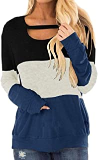 neveraway Women Loose Cut-Out Casual Color Block Long Sleeve Tunic Pullover Blouses Tops