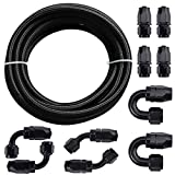 SYKRSS 10AN Fuel Line Rubber Hose Kit, 5/8 Stainless Steel Nylon Braided Fuel Gas Line 16....