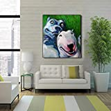 N / A Pintura sin Marco Pintura al óleo Bulldog y Bulldog Sala Imagen de la Pared sobre Lienzo ZGQ8115 40x53cm