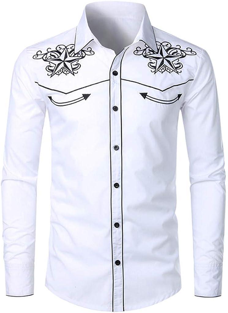 Mens Hipster Long Sleeve Embroidered Shirts Slim Fit Casual Button Down Shirt Mandarin Collar Floral Dress Shirt Top