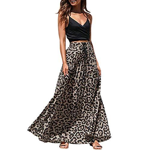 Strandkleid Leopard Damenrock Röcke Damen Moda Long Drawstring Plissee Böhmischer Maxirock Mit Hoher Taille-A_L