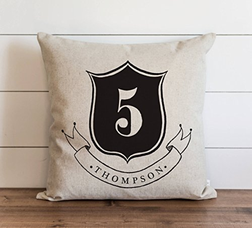 Promini Family Crest Last Name Pillow Cover Everyday Wedding Housewarming Anniversary Initial Gift Accent Pillow Case Cushion Pillowcase for Sofa Home Decor 26 x 26 Inches