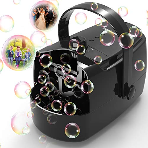 Zerhunt Bubble Machine, Bubble Machine for Kids, Durable Automatic Bubble Blower for Kids, Operated by Plug in or Batteries with 2 Speed Level, for Outdoor Indoor Party Birthday Black