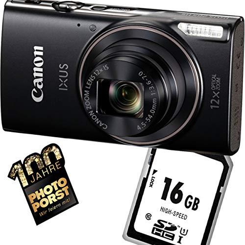 1A Photo PORST Starter Angebot Canon Ixus 285 HS Schwarz+SD 16 Go mémoire flash