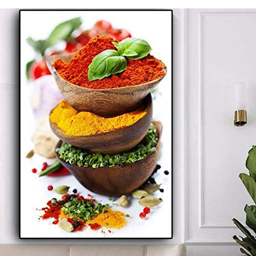 LLXHG korrels voor specerijen, paprika, groene plant, canvas, kunstdruk, voor keuken, wand, levensmiddelen, foto, woonkamer, decoratie, 30 x 45 cm, zonder lijst