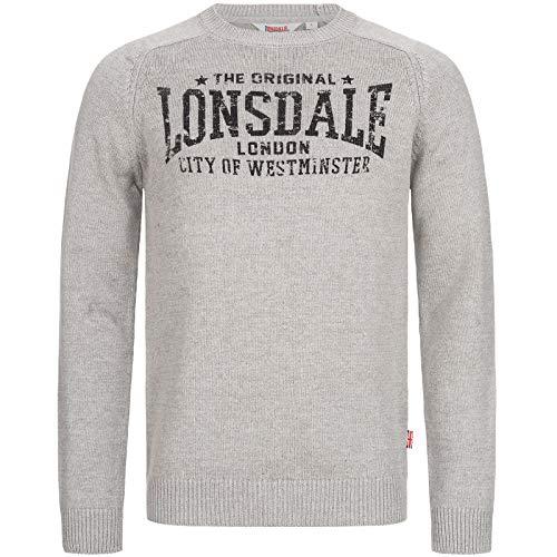 Lonsdale TALGARREG Sweatshirt, Marl Grey, Small Mens