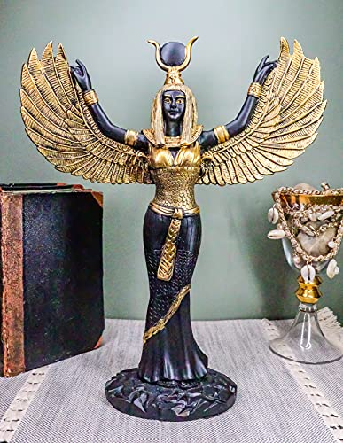 """Ebros Gift Egyptian Goddess Isis Ra with Open Wings Statue 12"""" Tall Deity of Motherhood Magic Wisdom and Nature Home Decorative Sculpture Gods of Egypt Accent (Black and Gold)"""