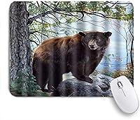 NINEHASA 可愛いマウスパッド クマの森自然岩の木 ノンスリップゴムバッキングコンピューターマウスパッドノートブックマウスマット