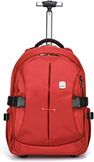 TONGSH Super Lightweight Business Travel Wheeled Rolling Laptop PC Tablet Computer Trolley Backpack Suitcase Hand Luggage Cabin (Color : Red, Size : L)