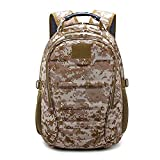 Mochila Assault Pack Bolso Backpack Daypack Rucksack con Auricular e Interfaz USB Paño de Oxford Impermeable Multifuncional,Desert