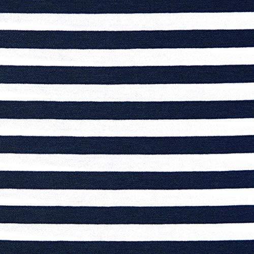 Fabulous Fabrics Jersey Navy, Maritim, 150cm breit – zum Nähen von Oberkleidung, Hosen und T-Shirts - Meterware erhältlich ab 0,5 m