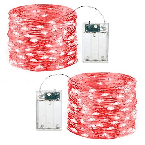 Rote Lichterkette für Weihnachten, batteriebetrieben, LED-Lichter für Innen- und Außenbereich, 5 Meter, 50 LEDs, Dekoration für Weihnachten, Party, Terrasse, Garten etc. Paquete de 2 rot