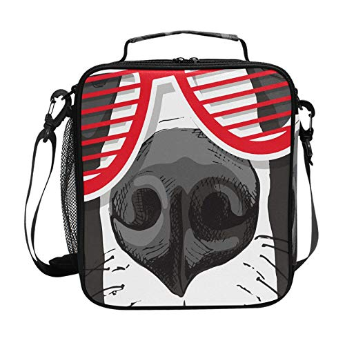 Lunch Tote Bag Women Great Dane Dog Red Grill Glasses Womens Lunch Box With Adjustable Shoulder Strap And Multiple Pockets Teen Lunch Boxes For Adults Women Men
