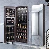 Aoou - Mueble organizador de joyas / joyero, espejo grande de visualización completa, puerta con cerradura, montaje en pared, para maquillaje / cambiador, gran capacidad, color marrón