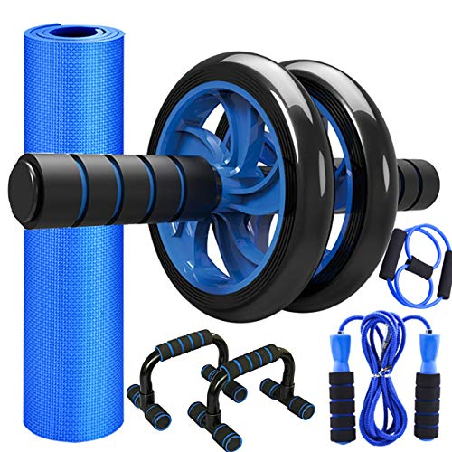 Sunifier Ab Roller Wheel for Abdominal Exercise with Push UP Bars, Ab Roller for Abs Workout Home Gym Workout Equipment for Men, Abs Exercise Equipment for Home Workouts (Blue)