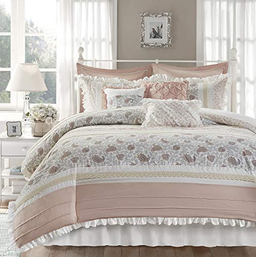 "Madison Park 100% Cotton Duvet Set Beautiful Floral Pattern, Ruffle Border Design - All Season, Breathable Comforter Cover Bedding, Matching Shams, Cal King(104""x92""), Dawn, Blush 9 Piece"