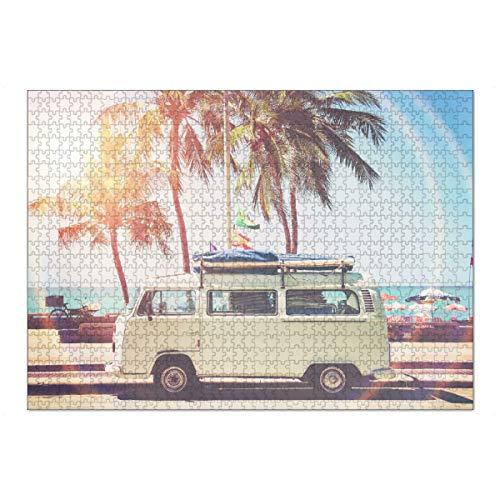 artboxONE Ravensburger-Puzzle XL (1000 Teile) Reise Retro Van - Puzzle Sun Retro Van Minibus