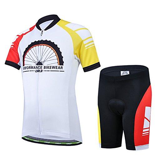 LPATTERN Kinder Radsport Bekleidung- Jungen/Mädchen Fahrrad Trikot-Set(Trikot Kurzarm+Kurz Radhose), B2062-Rad auf Weiß, 116(Label: M)