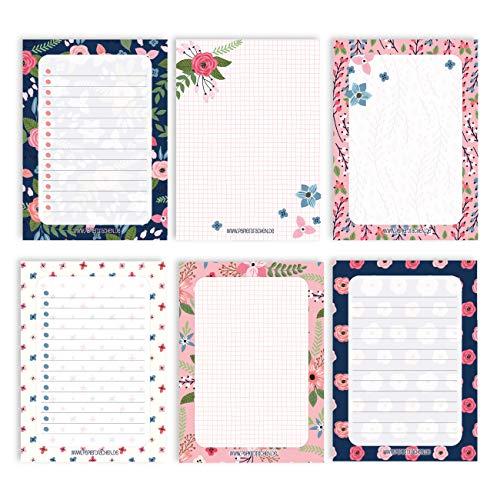 6 Notizblöcke Blanko zur freien Gestaltung | für Termine, Projekte, to do Liste, Meetings, Einkaufslisten, Notizen und vieles mehr - Blau Rosa - Notizblock Set 15 - DIN A6